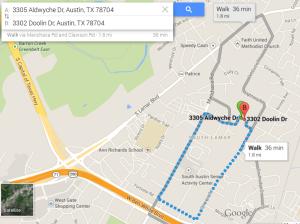 A very long walk in South Austin